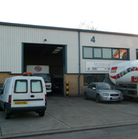 Modern industrial unit with B2 general industrial use showing loading bay and ample parking