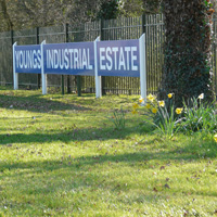 Industrial estate entrance showing Youngs Industrial Estate sign at Aldermaston